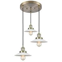 Innovations Lighting 211/3-AB-G1 Halophane 3 Light 17 inch Antique Brass Multi-Pendant Ceiling Light Franklin Restoration