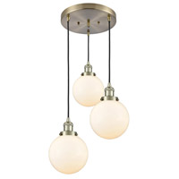 Innovations Lighting 211/3-AB-G201-8 Large Beacon 3 Light 18 inch Antique Brass Multi-Pendant Ceiling Light Franklin Restoration