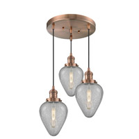Innovations Lighting 211/3-AC-G165-LED Geneseo LED 13 inch Antique Copper Multi-Pendant Ceiling Light Franklin Restoration