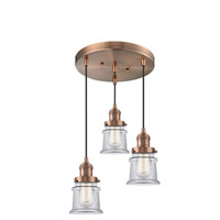 Innovations Lighting 211/3-AC-G182S Small Canton 3 Light 13 inch Antique Copper Multi-Pendant Ceiling Light Franklin Restoration
