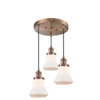 Innovations Lighting 211/3-AC-G191 Bellmont 3 Light 13 inch Antique Copper Multi-Pendant Ceiling Light Franklin Restoration