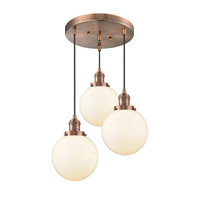 Innovations Lighting 211/3-AC-G201-8 Large Beacon 3 Light 18 inch Antique Copper Multi-Pendant Ceiling Light Franklin Restoration