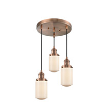 Innovations Lighting 211/3-AC-G311 Dover 3 Light 11 inch Antique Copper Multi-Pendant Ceiling Light Franklin Restoration