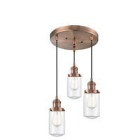Innovations Lighting 211/3-AC-G312 Dover 3 Light 11 inch Antique Copper Multi-Pendant Ceiling Light Franklin Restoration