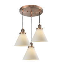Innovations Lighting 211/3-AC-G41 Signature 3 Light 13 inch Antique Copper Multi-Pendant Ceiling Light, Large, Cone
