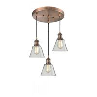 Innovations Lighting 211/3-AC-G62 Signature 3 Light 12 inch Antique Copper Multi-Pendant Ceiling Light, Small, Cone