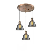 Innovations Lighting 211/3-AC-G63 Signature 3 Light 12 inch Antique Copper Multi-Pendant Ceiling Light, Small, Cone