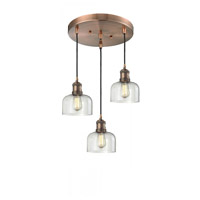 Innovations Lighting 211/3-AC-G72 Signature 3 Light 13 inch Antique Copper Multi-Pendant Ceiling Light, Large, Bell