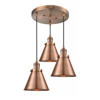 Innovations Lighting 211/3-AC-M13-AC Appalachian 3 Light 14 inch Antique Copper Multi-Pendant Ceiling Light Franklin Restoration