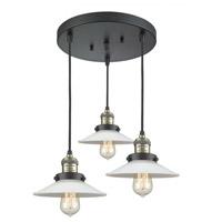 Innovations Lighting 211/3-BAB-G1 Halophane 3 Light 17 inch Black Antique Brass Multi-Pendant Ceiling Light Franklin Restoration