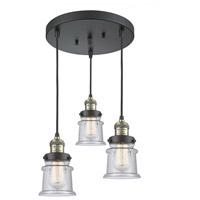 Innovations Lighting 211/3-BAB-G184S Small Canton 3 Light 13 inch Black Antique Brass Multi-Pendant Ceiling Light Franklin Restoration