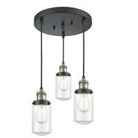 Innovations Lighting 211/3-BAB-G312 Dover 3 Light 11 inch Black Antique Brass Multi-Pendant Ceiling Light Franklin Restoration