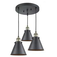 Innovations Lighting 211/3-BAB-M13-BK Appalachian 3 Light 14 inch Black Antique Brass Multi-Pendant Ceiling Light Franklin Restoration