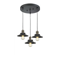 Innovations Lighting 211/3-BAB-M6 Railroad 3 Light 12 inch Black Antique Brass Multi-Pendant Ceiling Light, Franklin Restoration photo thumbnail