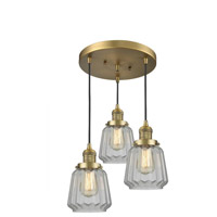 Innovations Lighting 211/3-BB-G142 Chatham 3 Light 13 inch Brushed Brass Multi-Pendant Ceiling Light, Franklin Restoration