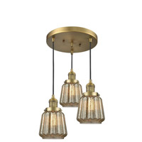 Innovations Lighting 211/3-BB-G146 Chatham 3 Light 13 inch Brushed Brass Multi-Pendant Ceiling Light, Franklin Restoration
