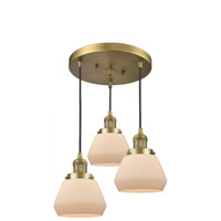 Innovations Lighting 211/3-BB-G171 Fulton 3 Light 13 inch Brushed Brass Multi-Pendant Ceiling Light Franklin Restoration
