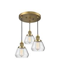 Innovations Lighting 211/3-BB-G172 Fulton 3 Light 13 inch Brushed Brass Multi-Pendant Ceiling Light Franklin Restoration