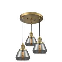Innovations Lighting 211/3-BB-G173 Fulton 3 Light 13 inch Brushed Brass Multi-Pendant Ceiling Light Franklin Restoration