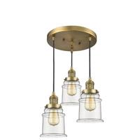 Innovations Lighting 211/3-BB-G182 Canton 3 Light 13 inch Brushed Brass Multi-Pendant Ceiling Light Franklin Restoration