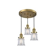 Innovations Lighting 211/3-BB-G182S Small Canton 3 Light 13 inch Brushed Brass Multi-Pendant Ceiling Light Franklin Restoration