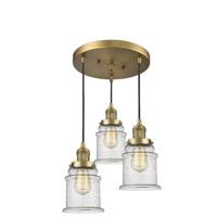 Innovations Lighting 211/3-BB-G184 Canton 3 Light 13 inch Brushed Brass Multi-Pendant Ceiling Light Franklin Restoration