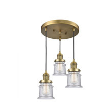 Innovations Lighting 211/3-BB-G184S Small Canton 3 Light 13 inch Brushed Brass Multi-Pendant Ceiling Light Franklin Restoration