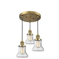 Innovations Lighting 211/3-BB-G194 Bellmont 3 Light 13 inch Brushed Brass Multi-Pendant Ceiling Light Franklin Restoration