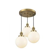 Innovations Lighting 211/3-BB-G201-8 Beacon 3 Light 18 inch Brushed Brass Multi-Pendant Ceiling Light