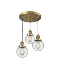 Innovations Lighting 211/3-BB-G204-6 Beacon 3 Light 16 inch Brushed Brass Multi-Pendant Ceiling Light Franklin Restoration