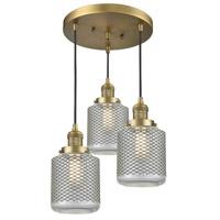 Innovations Lighting 211/3-BB-G262 Stanton 3 Light 14 inch Brushed Brass Multi-Pendant Ceiling Light Franklin Restoration