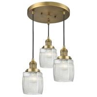 Innovations Lighting 211/3-BB-G302 Colton 3 Light 14 inch Brushed Brass Multi-Pendant Ceiling Light Franklin Restoration