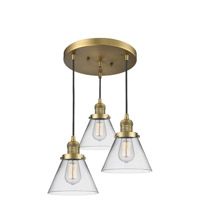 Innovations Lighting 211/3-BB-G42 Large Cone 3 Light 13 inch Brushed Brass Multi-Pendant Ceiling Light Franklin Restoration