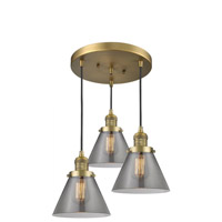 Innovations Lighting 211/3-BB-G43 Large Cone 3 Light 13 inch Brushed Brass Multi-Pendant Ceiling Light Franklin Restoration