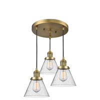 Innovations Lighting 211/3-BB-G44 Large Cone 3 Light 13 inch Brushed Brass Multi-Pendant Ceiling Light Franklin Restoration