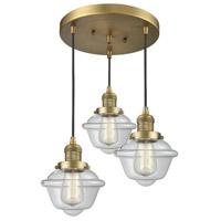 Innovations Lighting 211/3-BB-G532 Small Oxford 3 Light 14 inch Brushed Brass Multi-Pendant Ceiling Light Franklin Restoration