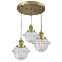 Innovations Lighting 211/3-BB-G534 Small Oxford 3 Light 14 inch Brushed Brass Multi-Pendant Ceiling Light Franklin Restoration