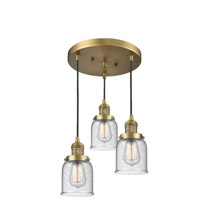 Innovations Lighting 211/3-BB-G54 Small Bell 3 Light 11 inch Brushed Brass Multi-Pendant Ceiling Light Franklin Restoration