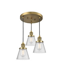 Brushed Brass Glass Small Cone Pendants