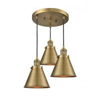 Innovations Lighting 211/3-BB-M13-BB Appalachian 3 Light 14 inch Brushed Brass Multi-Pendant Ceiling Light Franklin Restoration