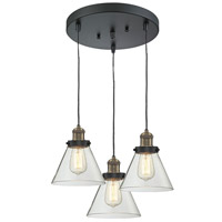 Innovations Lighting 211/3-BBB-G42 Signature 3 Light 13 inch Black and Brushed Brass Multi-Pendant Ceiling Light, Large, Cone