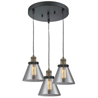 Innovations Lighting 211/3-BBB-G43 Signature 3 Light 13 inch Black and Brushed Brass Multi-Pendant Ceiling Light, Large, Cone