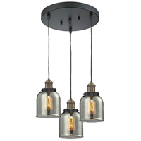 Innovations Lighting 211/3-BBB-G53 Signature 3 Light 11 inch Black and Brushed Brass Multi-Pendant Ceiling Light, Small, Bell