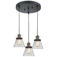Innovations Lighting 211/3-BBB-G62 Signature 3 Light 12 inch Black and Brushed Brass Multi-Pendant Ceiling Light, Small, Cone