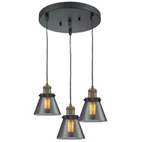 Innovations Lighting 211/3-BBB-G63 Signature 3 Light 12 inch Black and Brushed Brass Multi-Pendant Ceiling Light, Small, Cone