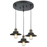 Innovations Lighting 211/3-BBB-M6 Railroad 3 Light 12 inch Black and Brushed Brass Multi-Pendant Ceiling Light photo thumbnail