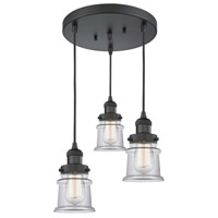 Innovations Lighting 211/3-BK-G182S Small Canton 3 Light 13 inch Matte Black Multi-Pendant Ceiling Light Franklin Restoration