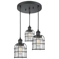 Innovations Lighting 211/3-BK-G54-CE Small Bell Cage 3 Light 11 inch Matte Black Multi-Pendant Ceiling Light Franklin Restoration