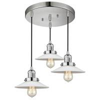 Innovations Lighting 211/3-PN-G1 Halophane 3 Light 17 inch Polished Nickel Multi-Pendant Ceiling Light Franklin Restoration