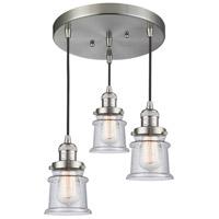 Innovations Lighting 211/3-SN-G184S Small Canton 3 Light 13 inch Brushed Satin Nickel Multi-Pendant Ceiling Light Franklin Restoration